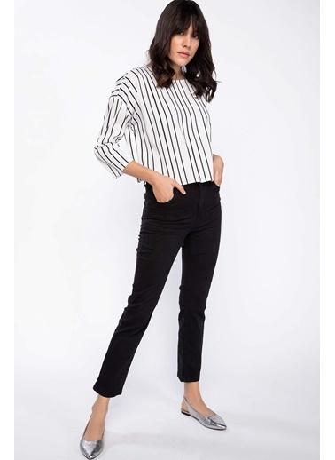 DeFacto Çizgili Bluz Beyaz